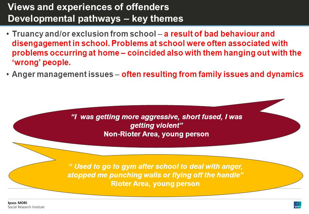 Views and experiences of offenders Developmental pathways – key themes Truancy and/or exclusion from school – a result of bad behaviour and disengagement in school.