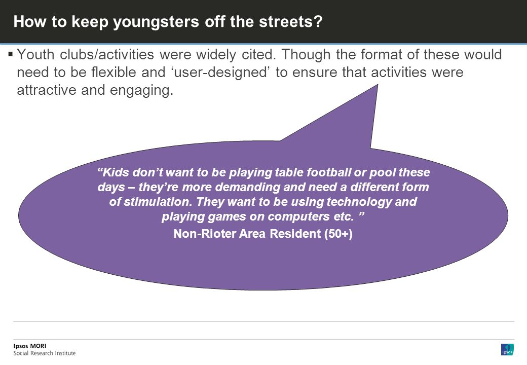 How to keep youngsters off the streets. Youth clubs/activities were widely cited.