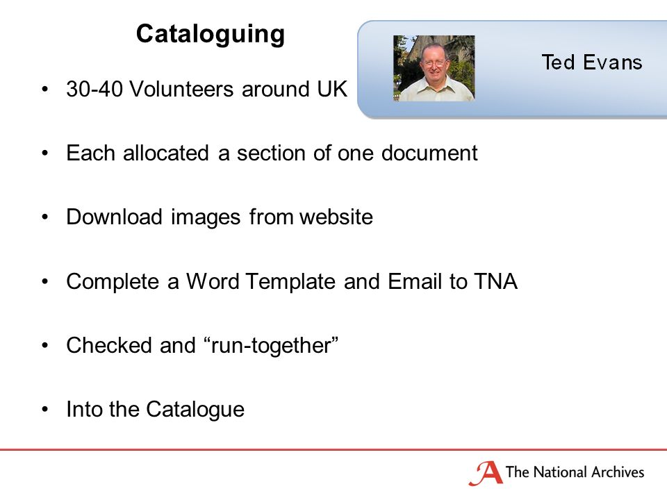 30-40 Volunteers around UK Each allocated a section of one document Download images from website Complete a Word Template and Email to TNA Checked and