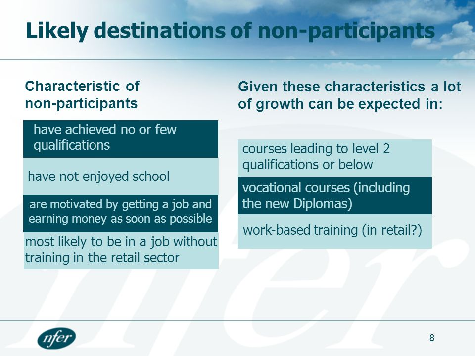 8 courses leading to level 2 qualifications or below work-based training (in retail?) Likely destinations of non-participants have achieved no or few qualifications have not enjoyed school vocational courses (including the new Diplomas) are motivated by getting a job and earning money as soon as possible most likely to be in a job without training in the retail sector Characteristic of non-participants Given these characteristics a lot of growth can be expected in: