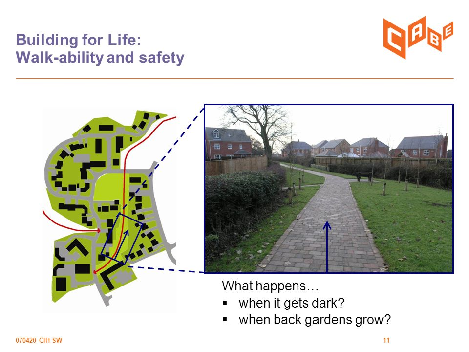 070420 CIH SW11 Building for Life: Walk-ability and safety What happens… when it gets dark.