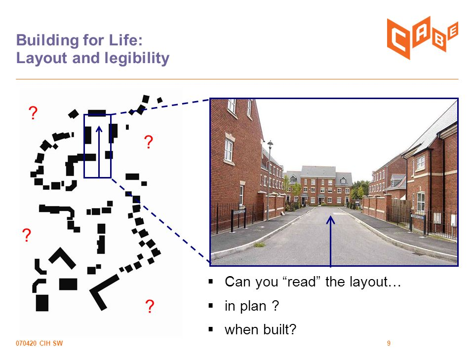070420 CIH SW9 Building for Life: Layout and legibility Can you read the layout… in plan .