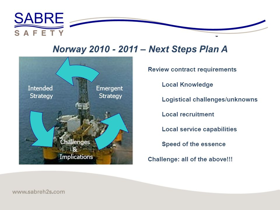 Click to edit Master title style 3 Norway 2010 - 2011 – Next Steps Plan A Review contract requirements Local Knowledge Logistical challenges/unknowns Local recruitment Local service capabilities Speed of the essence Challenge: all of the above!!.