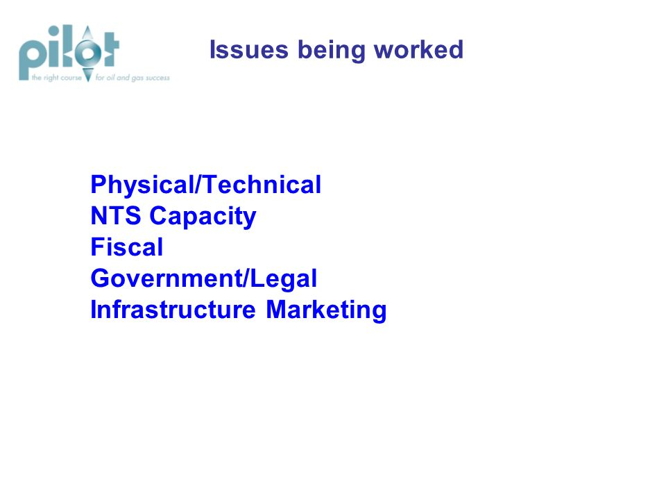 Physical/Technical NTS Capacity Fiscal Government/Legal Infrastructure Marketing Issues being worked