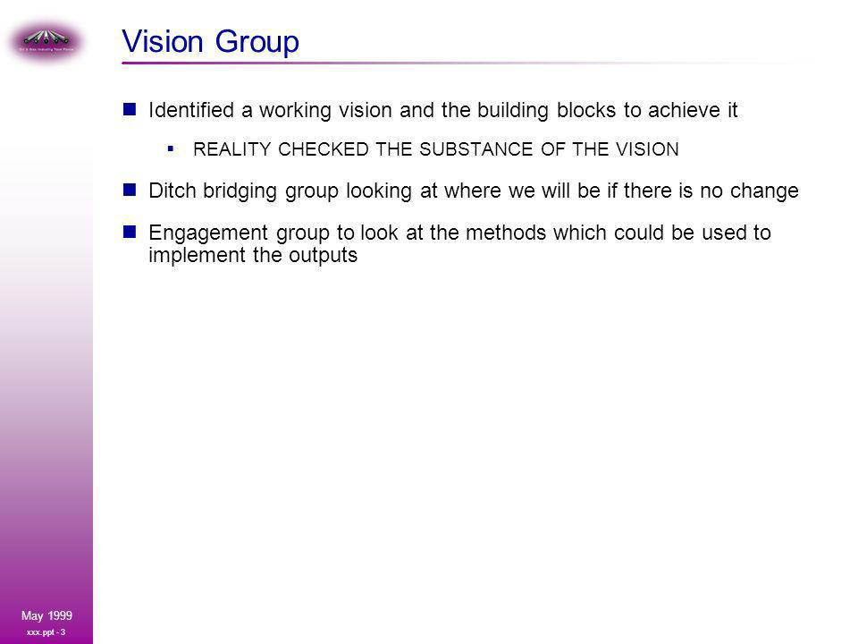 xxx.ppt - 3 May 1999 Vision Group Identified a working vision and the building blocks to achieve it REALITY CHECKED THE SUBSTANCE OF THE VISION Ditch bridging group looking at where we will be if there is no change Engagement group to look at the methods which could be used to implement the outputs