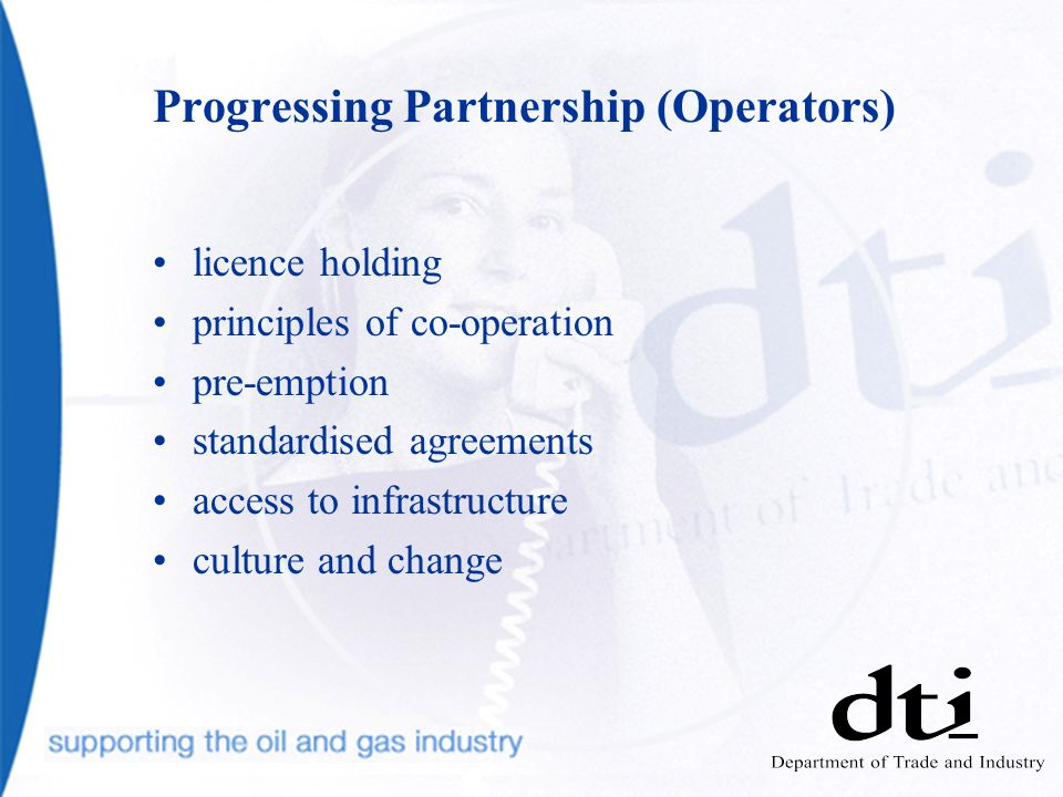 Progressing Partnership (Operators) licence holding principles of co-operation pre-emption standardised agreements access to infrastructure culture an
