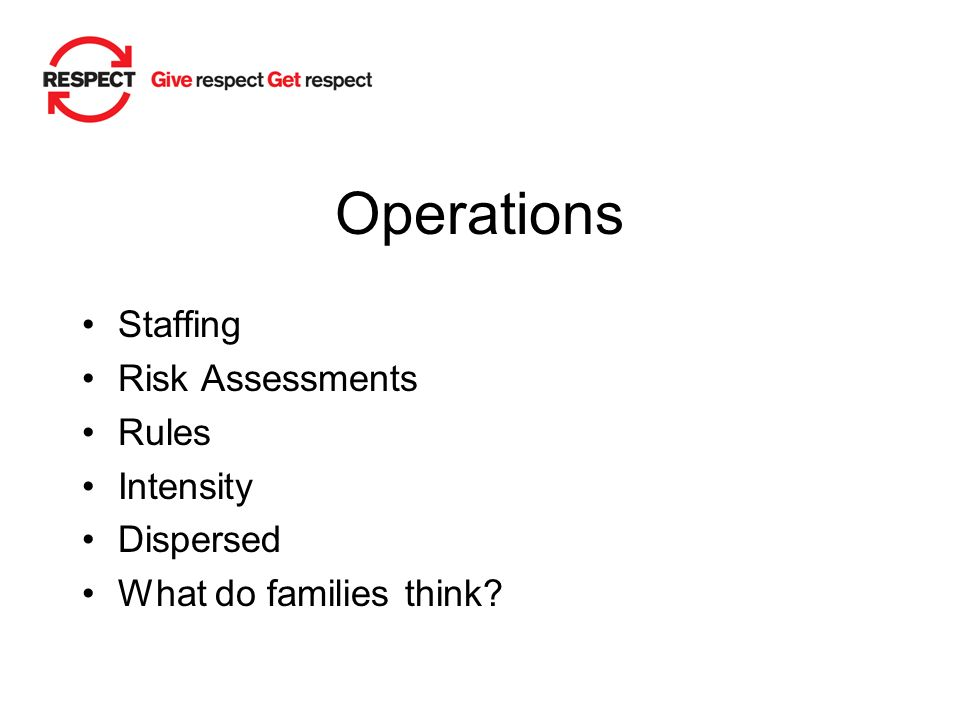 Operations Staffing Risk Assessments Rules Intensity Dispersed What do families think