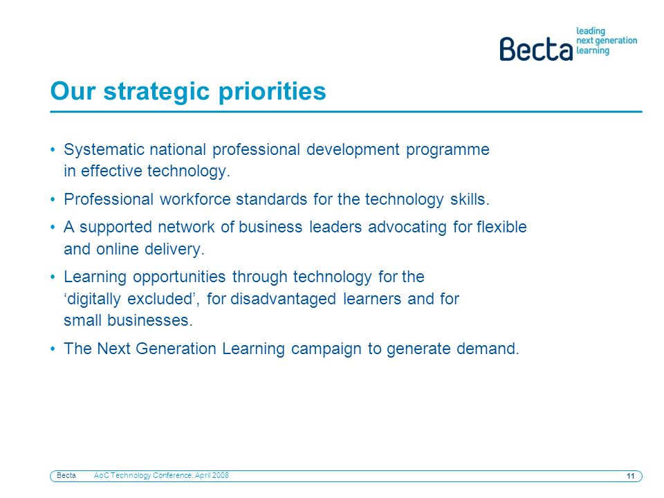 Becta AoC Technology Conference, April 2008 11 Our strategic priorities Systematic national professional development programme in effective technology