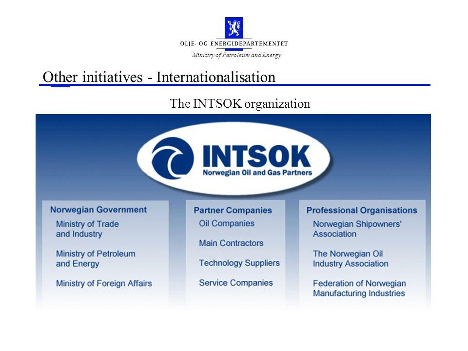 Ministry of Petroleum and Energy Other initiatives - Internationalisation The INTSOK organization