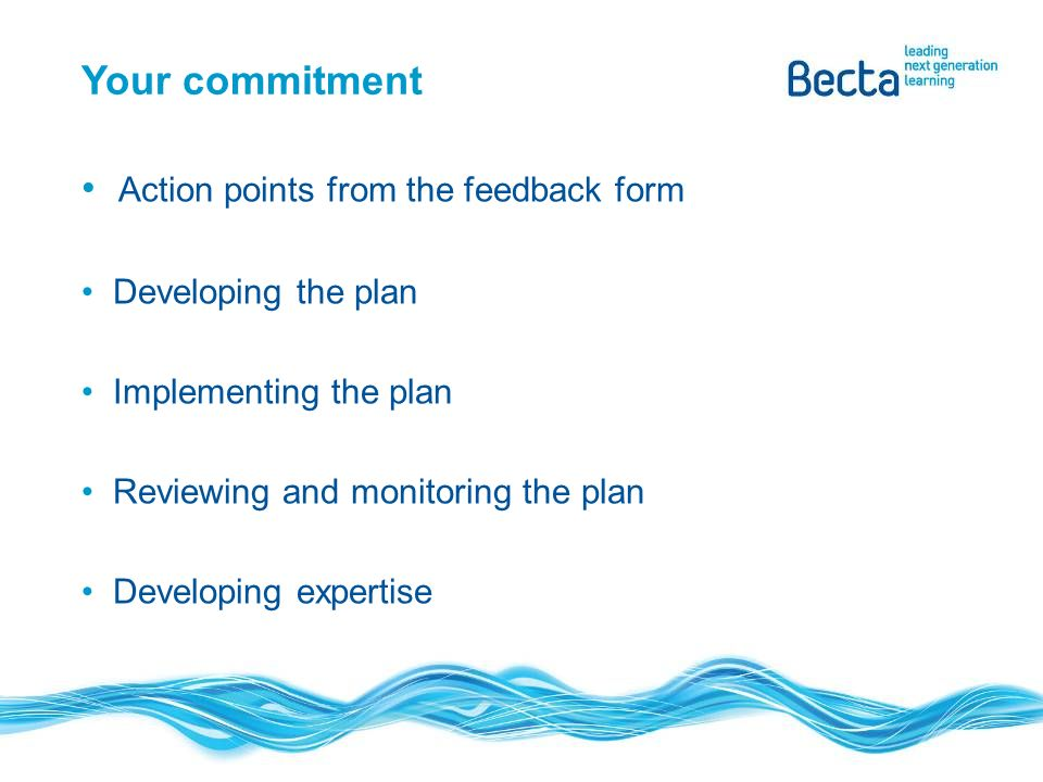 Action points from the feedback form Developing the plan Implementing the plan Reviewing and monitoring the plan Developing expertise Your commitment