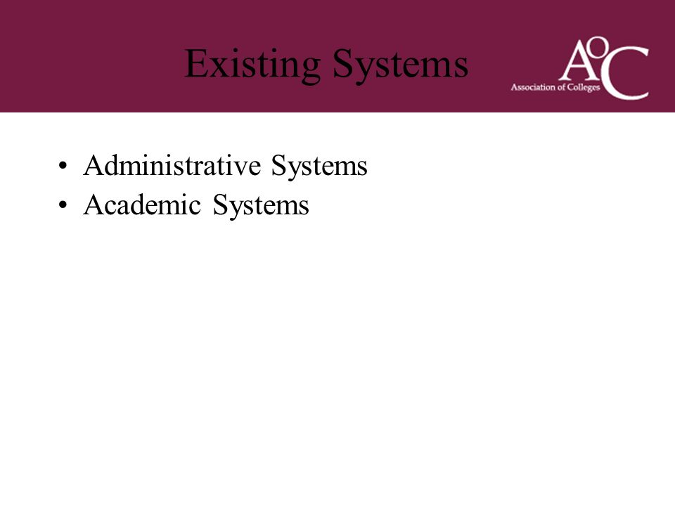 Title of the slide Second line of the slide Existing Systems Administrative Systems Academic Systems