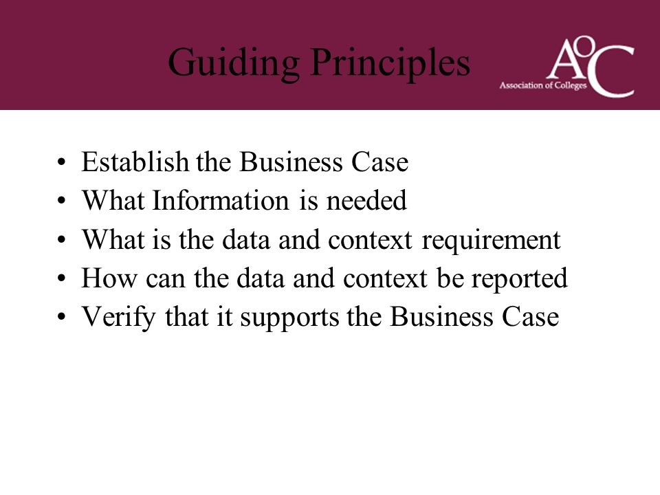 Title of the slide Second line of the slide Guiding Principles Establish the Business Case What Information is needed What is the data and context req