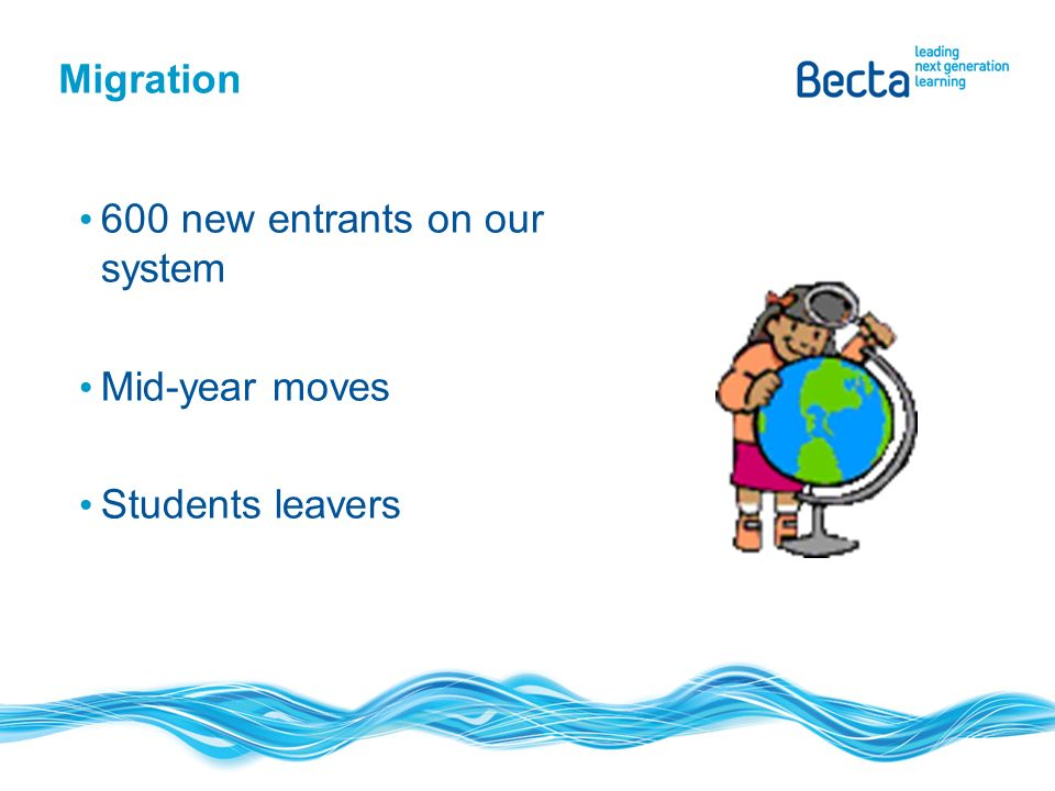 Migration 600 new entrants on our system Mid-year moves Students leavers
