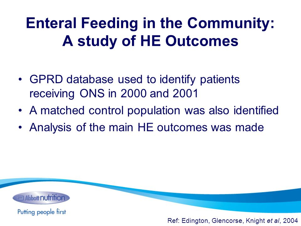 Enteral Feeding in the Community: A study of HE Outcomes GPRD database used to identify patients receiving ONS in 2000 and 2001 A matched control popu