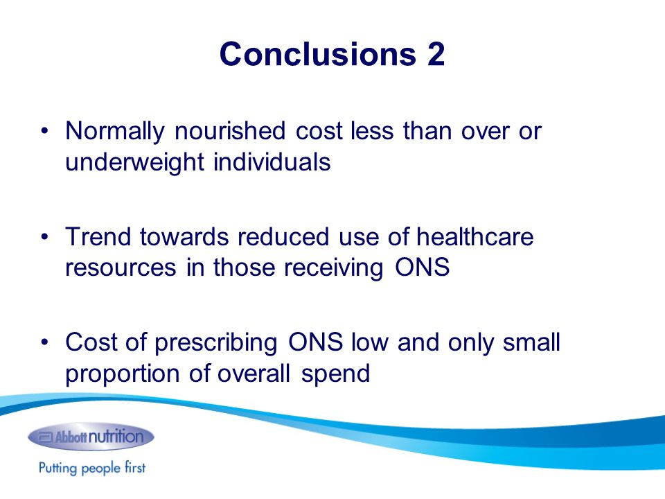 Conclusions 2 Normally nourished cost less than over or underweight individuals Trend towards reduced use of healthcare resources in those receiving O