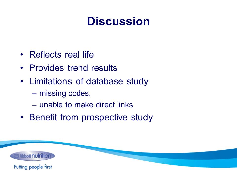 Discussion Reflects real life Provides trend results Limitations of database study –missing codes, –unable to make direct links Benefit from prospecti