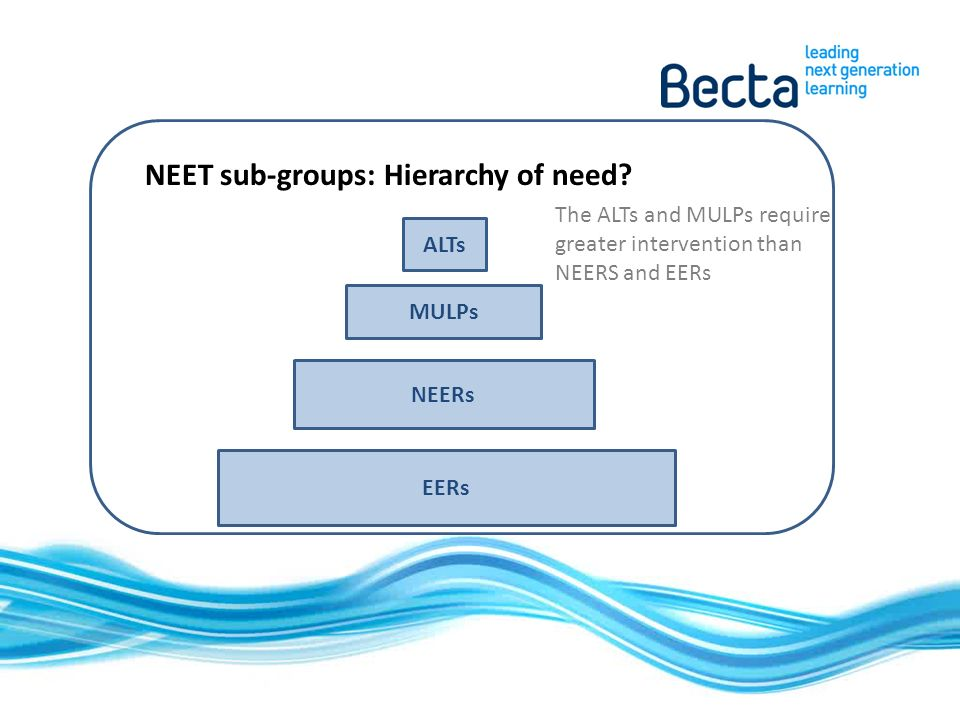 NEET sub-groups: Hierarchy of need.
