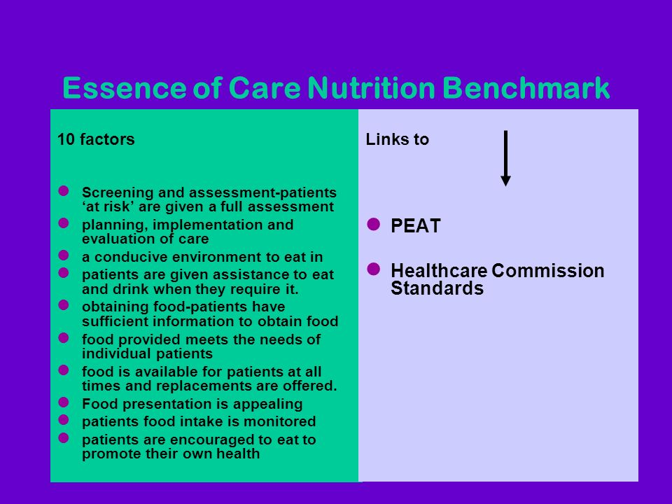 Essence of Care Nutrition Benchmark 10 factors l Screening and assessment-patients at risk are given a full assessment l planning, implementation and