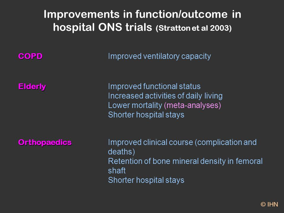 Improvements in function/outcome in hospital ONS trials (Stratton et al 2003) COPD Improved ventilatory capacity Elderly Improved functional status Increased activities of daily living Lower mortality (meta-analyses) Shorter hospital stays Orthopaedics Improved clinical course (complication and deaths) Retention of bone mineral density in femoral shaft Shorter hospital stays © IHN