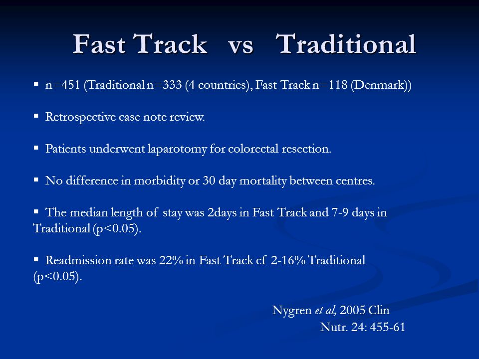 Fast Track vs Traditional n=451 (Traditional n=333 (4 countries), Fast Track n=118 (Denmark)) Retrospective case note review.