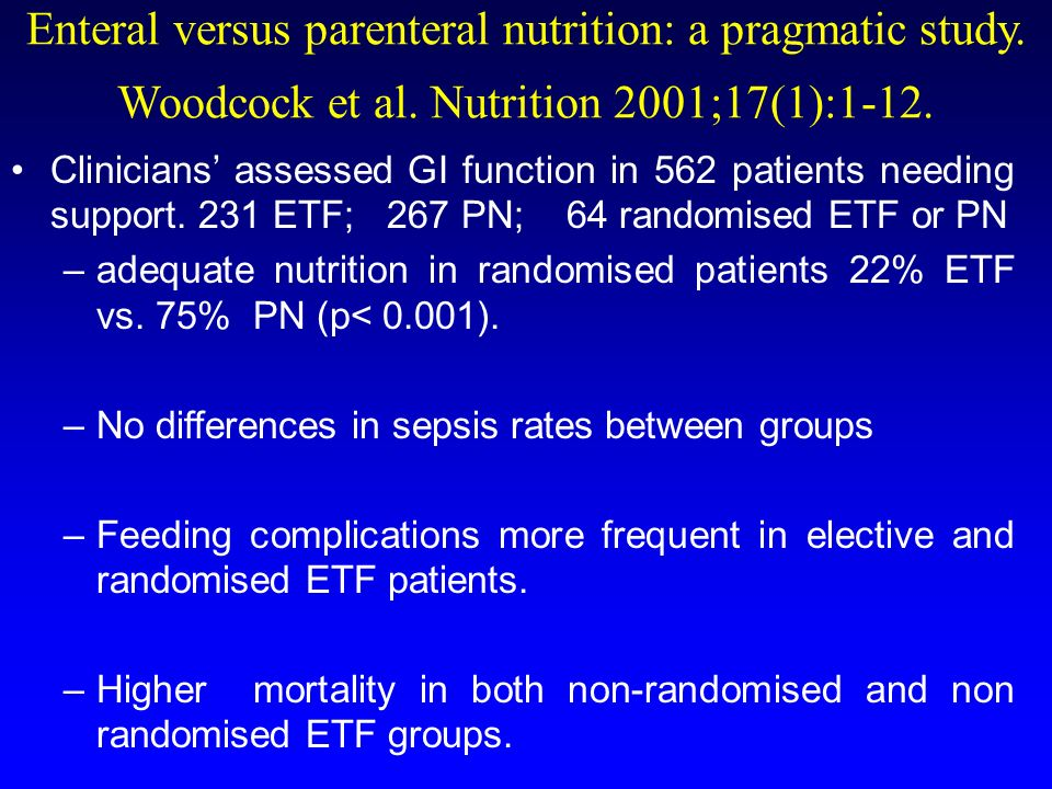 Enteral versus parenteral nutrition: a pragmatic study. Woodcock et al. Nutrition 2001;17(1):1-12. Clinicians assessed GI function in 562 patients nee