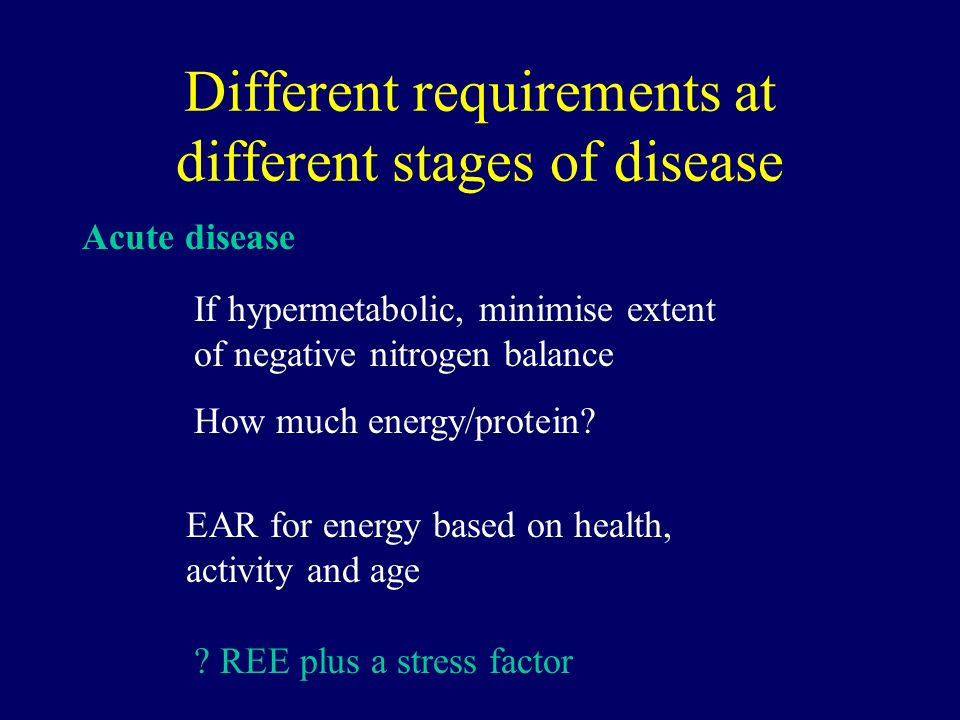 Different requirements at different stages of disease Acute disease If hypermetabolic, minimise extent of negative nitrogen balance How much energy/protein.