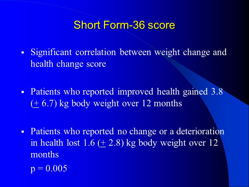 Short Form-36 score Significant correlation between weight change and health change score Patients who reported improved health gained 3.8 (+ 6.7) kg