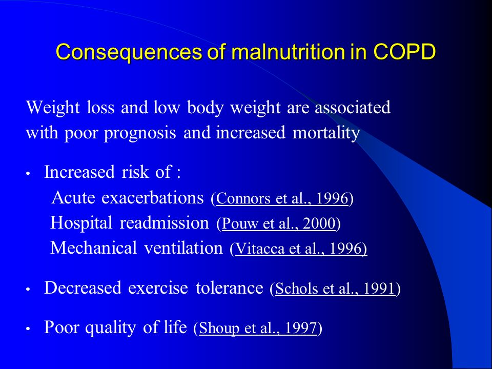 Consequences of malnutrition in COPD Weight loss and low body weight are associated with poor prognosis and increased mortality Increased risk of : Ac