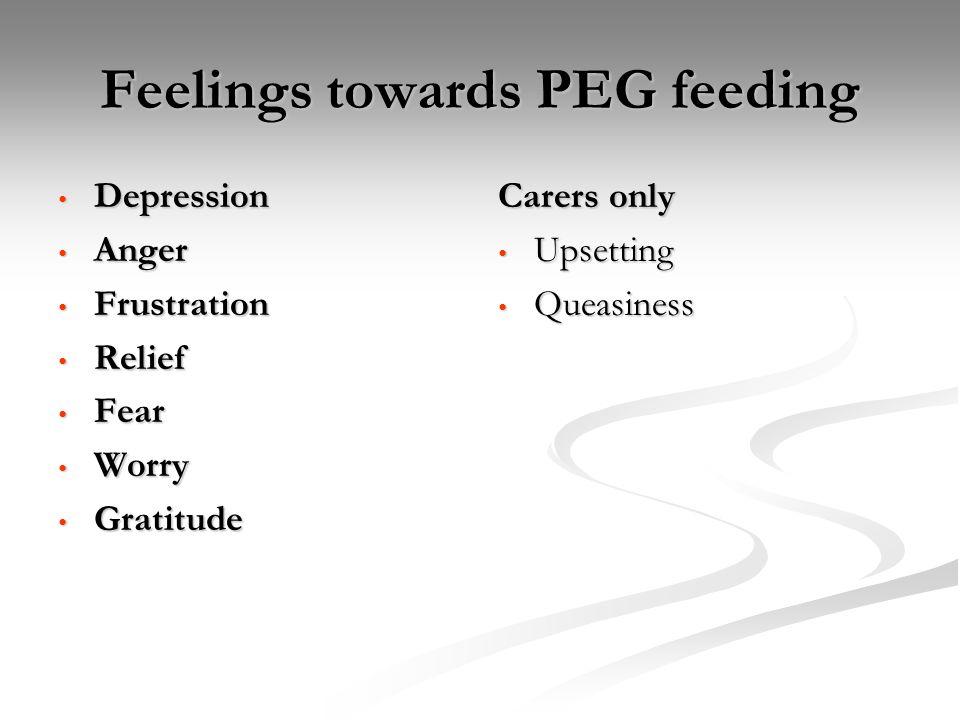 Feelings towards PEG feeding Depression Depression Anger Anger Frustration Frustration Relief Relief Fear Fear Worry Worry Gratitude Gratitude Carers