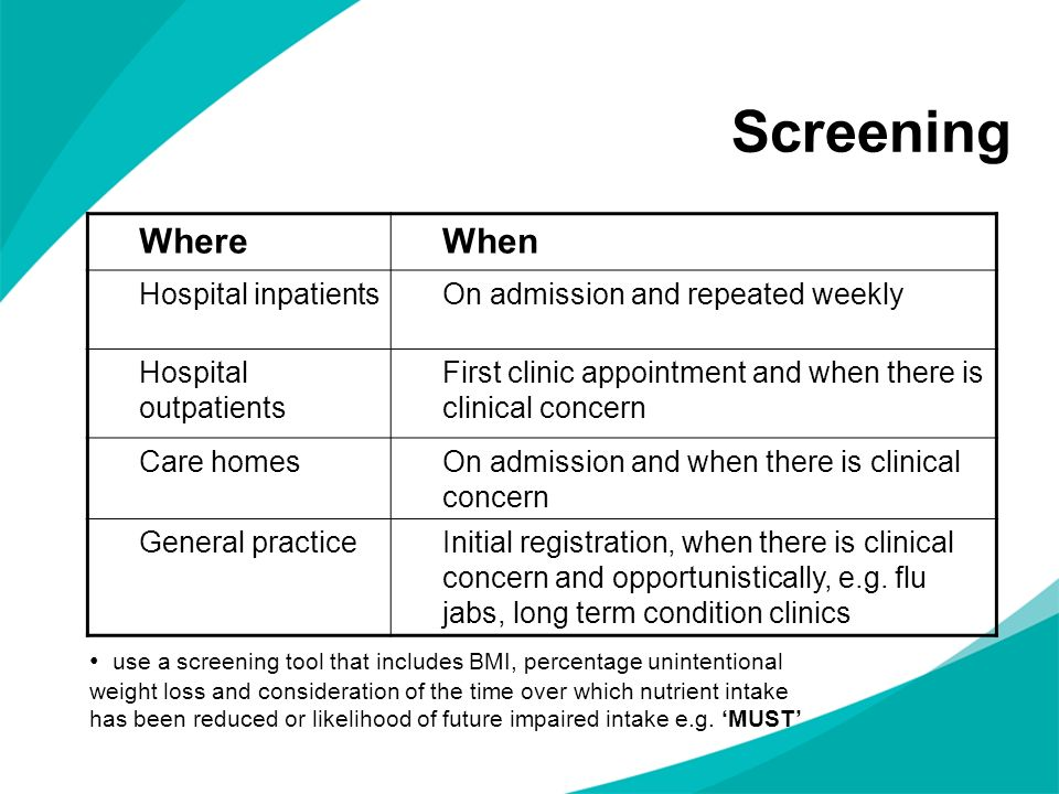Screening WhereWhen Hospital inpatientsOn admission and repeated weekly Hospital outpatients First clinic appointment and when there is clinical conce