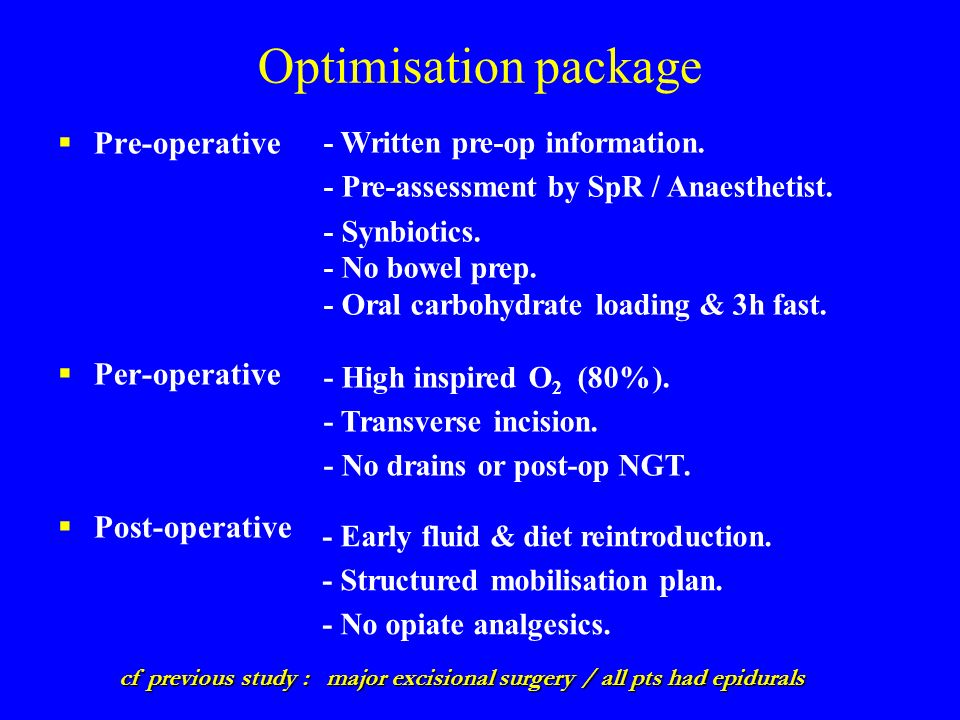 Optimisation package Pre-operative Per-operative Post-operative cf previous study : major excisional surgery / all pts had epidurals - Written pre-op information.