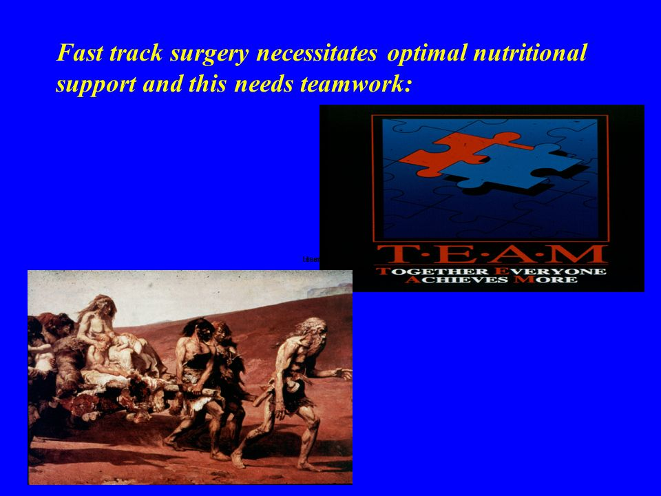 Fast track surgery necessitates optimal nutritional support and this needs teamwork:
