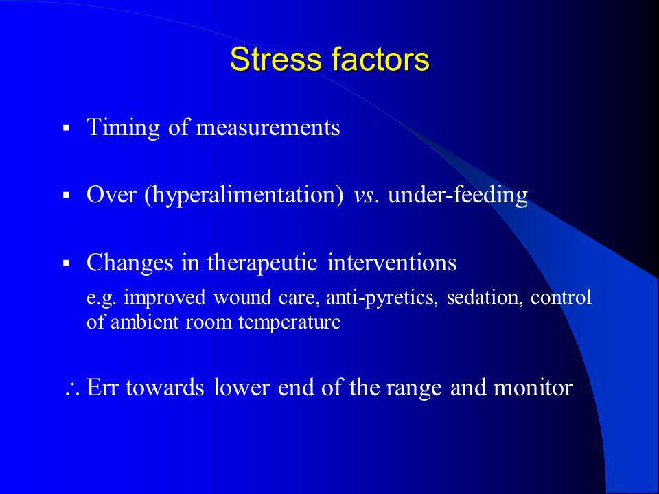 Stress factors Timing of measurements Over (hyperalimentation) vs. under-feeding Changes in therapeutic interventions e.g. improved wound care, anti-p