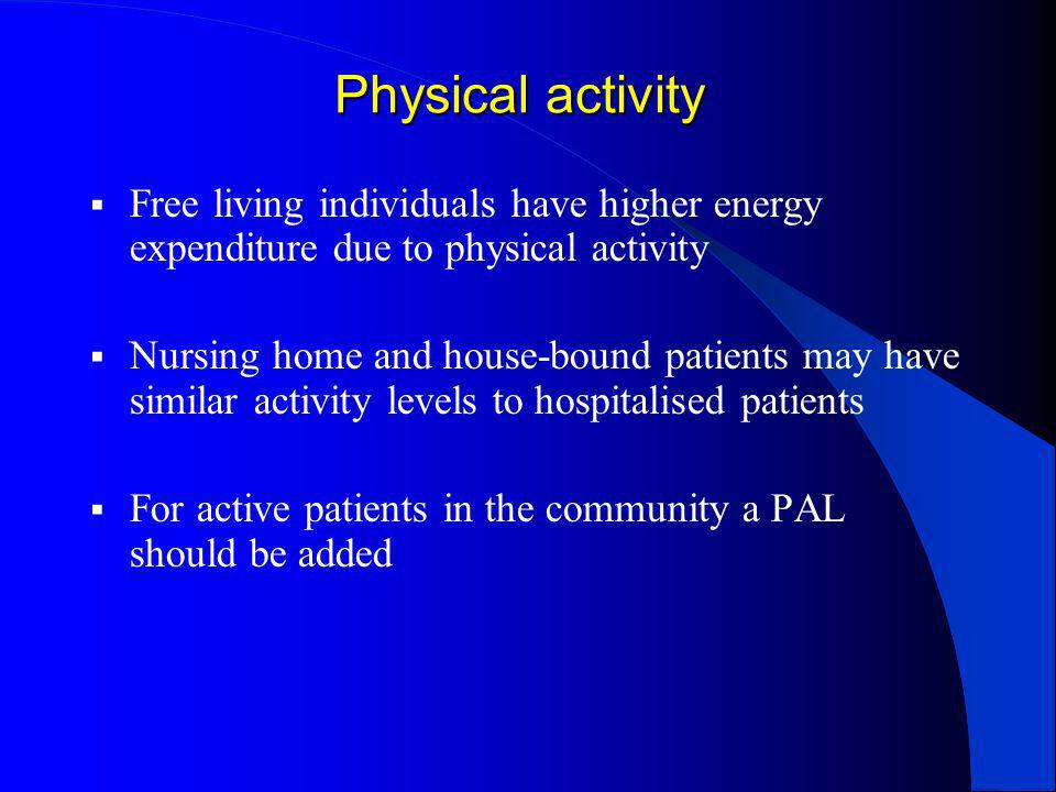 Physical activity Free living individuals have higher energy expenditure due to physical activity Nursing home and house-bound patients may have simil