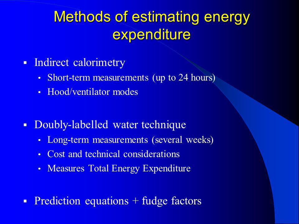 Prediction equations May over or under-estimate compared with measured energy expenditure (MEE) Inadequately validated Poor predictive value for individuals Open to misinterpretation (Cortes & Nelson, 1989; Malone, 2002; Reeves & Capra, 2003)