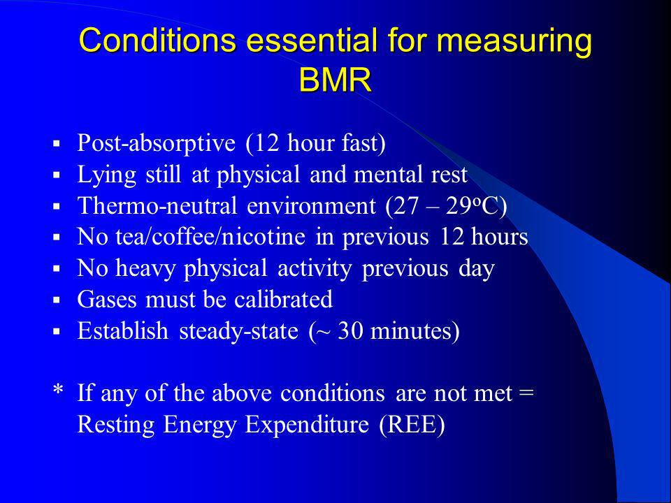 Measured Energy Expenditure (MEE) Measured in clinical setting by indirect calorimetry (rarely available in UK hospitals) Recommended in certain conditions e.g.