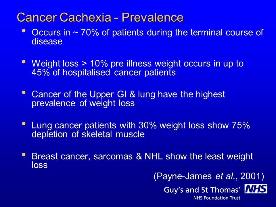 Cancer Cachexia - Prevalence Occurs in ~ 70% of patients during the terminal course of disease Weight loss > 10% pre illness weight occurs in up to 45