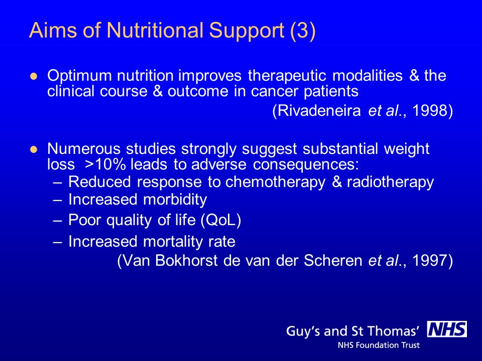 Aims of Nutritional Support (3) Optimum nutrition improves therapeutic modalities & the clinical course & outcome in cancer patients (Rivadeneira et a