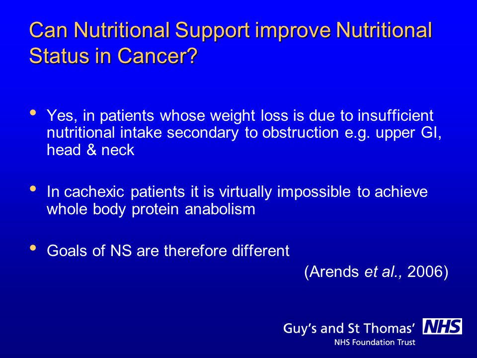 Can Nutritional Support improve Nutritional Status in Cancer? Yes, in patients whose weight loss is due to insufficient nutritional intake secondary t