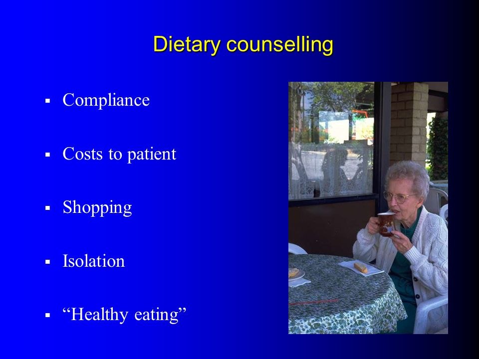 Dietary counselling Compliance Costs to patient Shopping Isolation Healthy eating