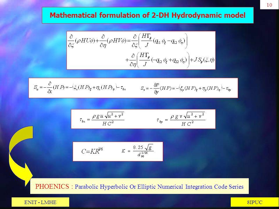 10 8IPUC PHOENICS : Parabolic Hyperbolic Or Elliptic Numerical Integration Code Series Mathematical formulation of 2-DH Hydrodynamic model ENIT - LMHE