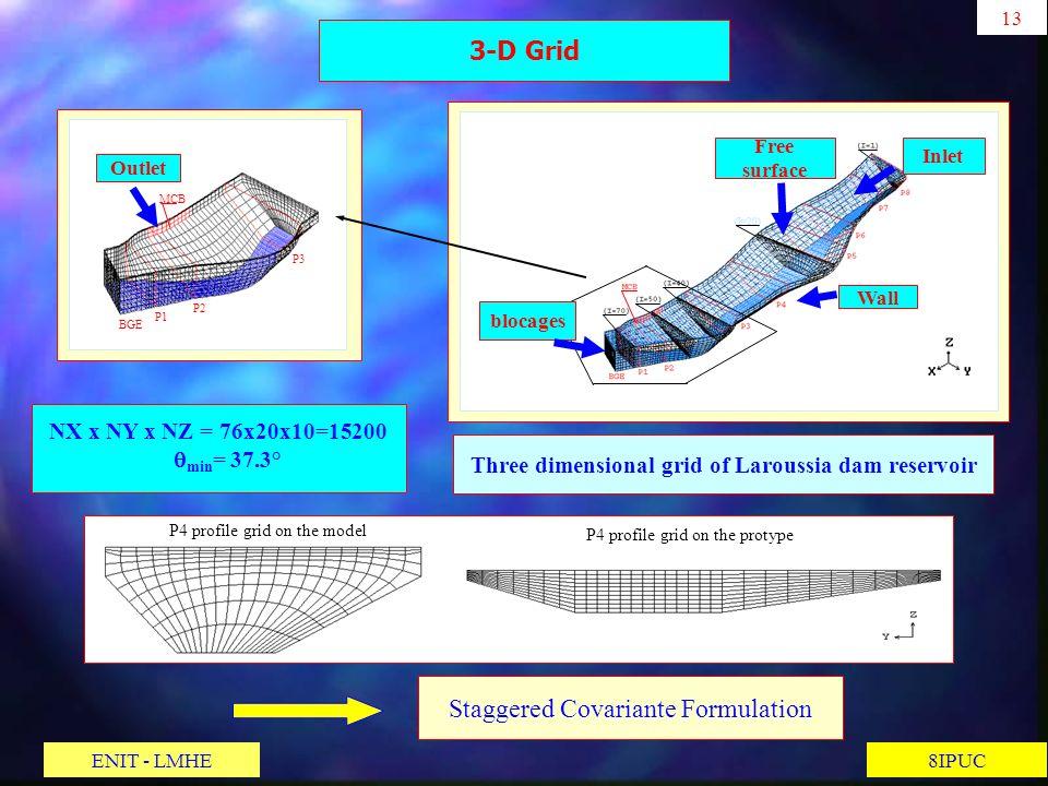Three dimensional grid of Laroussia dam reservoir (I=20) 13 8IPUC 3-D Grid Staggered Covariante Formulation NX x NY x NZ = 76x20x10=15200 min = 37.3°