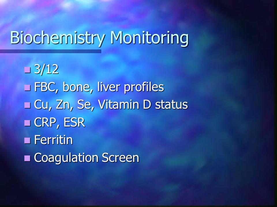 Biochemistry Monitoring 3/12 3/12 FBC, bone, liver profiles FBC, bone, liver profiles Cu, Zn, Se, Vitamin D status Cu, Zn, Se, Vitamin D status CRP, E