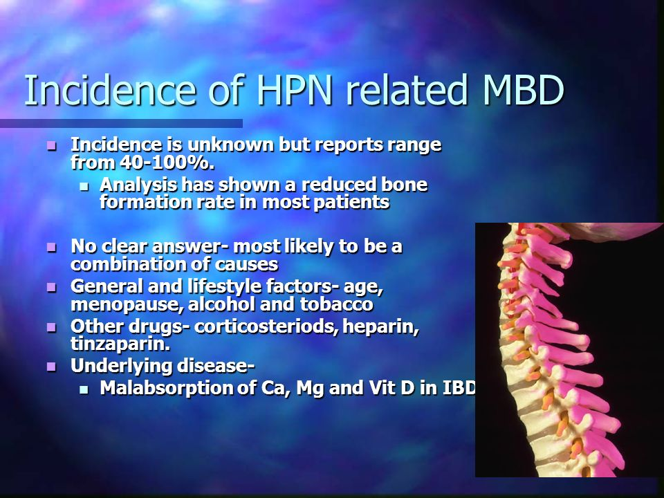 Incidence of HPN related MBD Incidence is unknown but reports range from 40-100%. Incidence is unknown but reports range from 40-100%. Analysis has sh