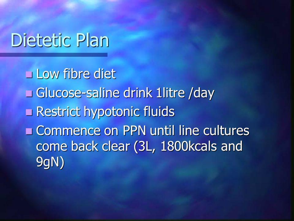 Dietetic Plan Low fibre diet Low fibre diet Glucose-saline drink 1litre /day Glucose-saline drink 1litre /day Restrict hypotonic fluids Restrict hypot