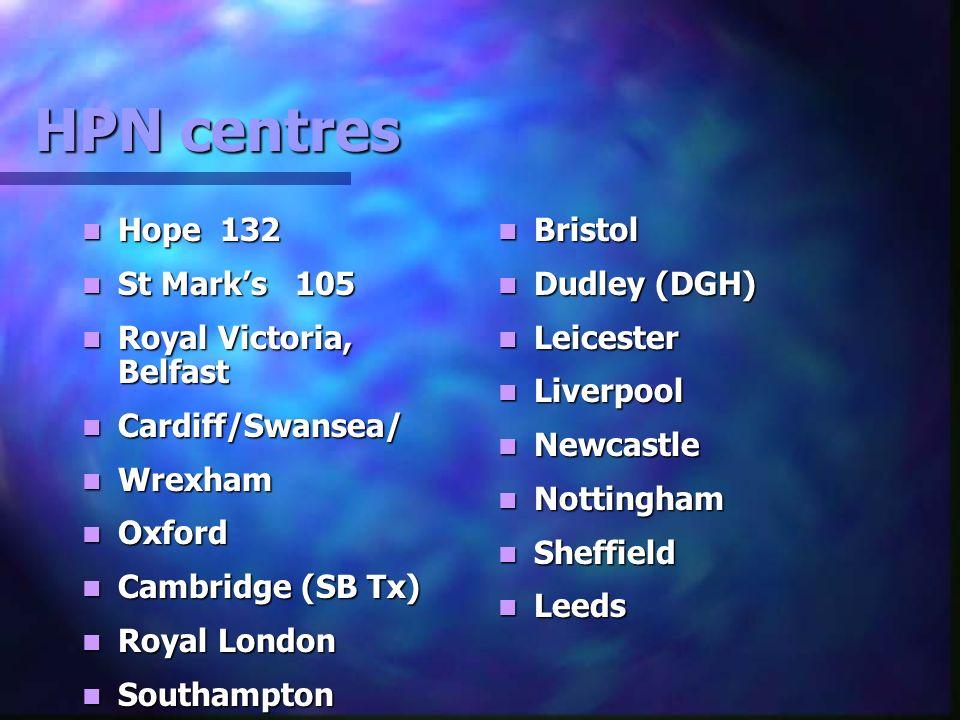 HPN centres Hope 132 Hope 132 St Marks 105 St Marks 105 Royal Victoria, Belfast Royal Victoria, Belfast Cardiff/Swansea/ Cardiff/Swansea/ Wrexham Wrex