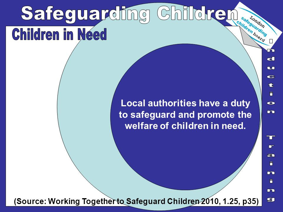 Local authorities have a duty to safeguard and promote the welfare of children in need. (Source: Working Together to Safeguard Children 2010, 1.25, p3