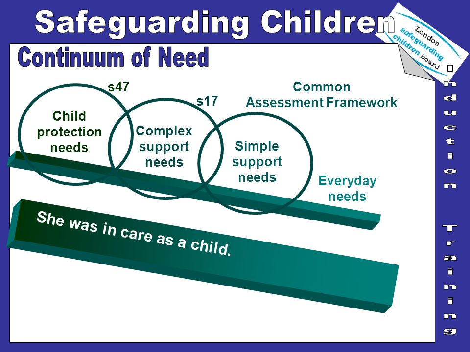She was in care as a child. Everyday needs Simple support needs Child protection needs s47 Complex support needs s17 Common Assessment Framework