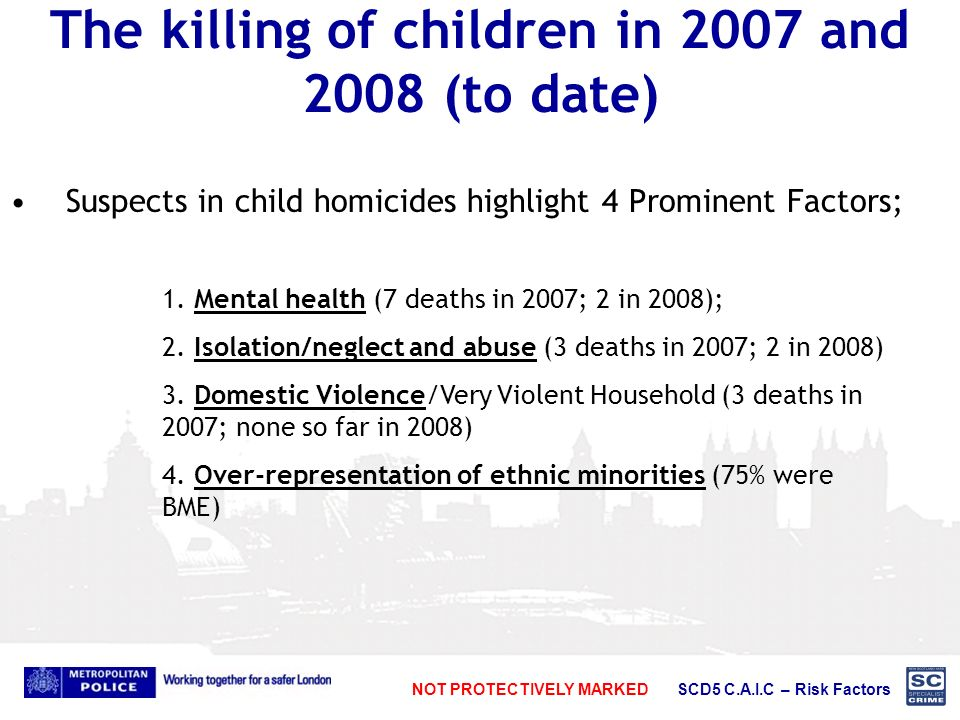 NOT PROTECTIVELY MARKED SCD5 C.A.I.C – Risk Factors The killing of children in 2007 and 2008 (to date) Suspects in child homicides highlight 4 Prominent Factors; 1.
