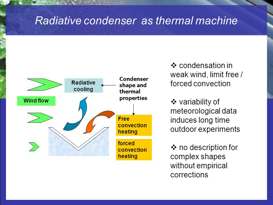 Radiation-cooled Dew Water Condensers Studied by Computational Fluid Dynamic (CFD) Radiative condenser as thermal machine Wind flow condensation in we